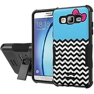 Galaxy [On5] Armor Case [NakedShield] [Black/Black] Urban Shockproof Defender [Kick Stand] - [Ribbon Chevron Blue] for Samsung Galaxy [On5]