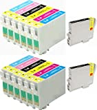2 Full Sets + 2 Black Inks : 14 High Capacity Compatible Ink Cartridges Multipack T0487 - T0481 T0482 T0483 T0484 T0485 T0486 for Epson Stylus Photo R200 R220 R300 R300M R320 R325 R340 R350 RX500 RX600 RX620 RX640