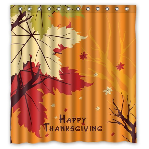 Golden yellow Fall Happy Thanksgiving day Waterproof Bathroom Fabric Shower Curtain,Bathroom decor 66