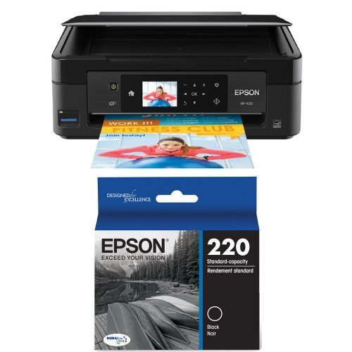 Epson Expression Home XP-420 Wireless Color Photo Printer with Scanner & Copier and Epson DURABrite Ultra Standard-Capacity Ink Cartridge, Black (T220120)
