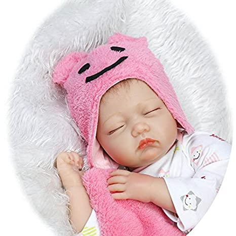 NPK 22inch 55 CM pas cher poupee reborn bébé Fille souple en silicone Vinyle Doll réaliste Yeux fermés toddler Baby Magnétique Jouet cadeau de Noël