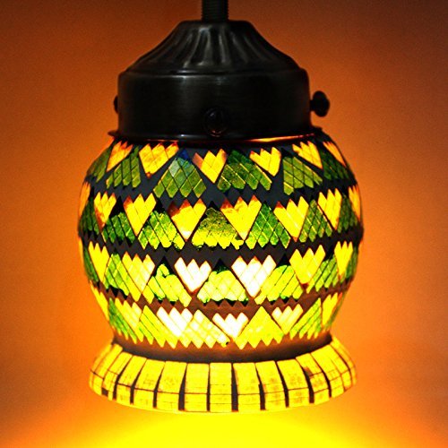 EarthenMetal Handcrafted Multicoloured Mosaic Hanging Light - B018BBXLMI