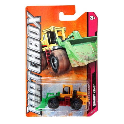 "Mattel Year 2011 Matchbox MBX ISLAND Series 1:64 Scale Die Cast Car #1 - QUARRY KING ""#12 Jones Bros Construction"" Front End Loader (W4841) - 1"