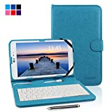 Kamor 7 7 inch Universal PU Leather Stand Tablet Case Cover with Keyboard Micro USB Keyboard with Touch Screen Stylus Pen for 7 inch Android Tablet PC Micro Female to Mini Male adapter Light Blue