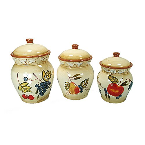 D'Lusso Designs Home Decorative Fruit Design Three Piece Ceramic Canister Set Fruit Design