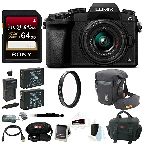 Panasonic LUMIX G7 Camera with 14-42mm Lens (Black) + Sony 64GB SDXC + Tiffen 42MM UV & CP Filters + Accessory Bag (Panasonic Sdxc 64gb compare prices)