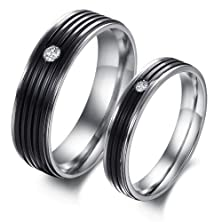 buy Bling Beauty Jewelry Fashion Couple Rings Inlaid Shine Crystal Stainless Steel Black Stripe Pattern Finger Bands With Cubic Zirconia For Men And Women