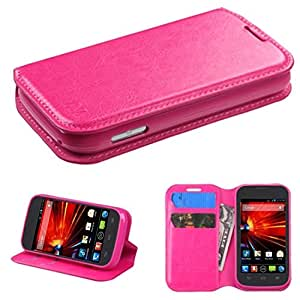 MyBat MyJacket Wallet with Tray for ZTE Z730 Concord II - Retail Packaging - Hot Pink