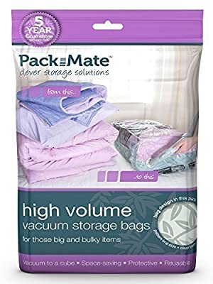 Packmate ® 6 Jumbo Volume Vacuum Compressed Space Saver Storage Bags (90 x 110cm) For Clothing, Kingsize Duvets, Bedding & More
