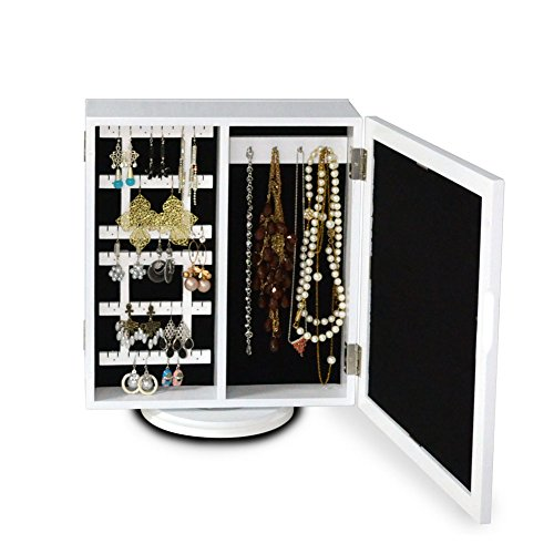 Colorfulhall White Color Wooden Mirrored Jewelry Organizer Locking Jewelry Armoires Holder front-744650