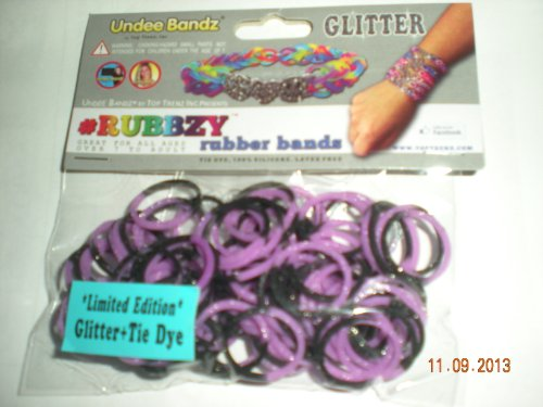 Rubbzy Glitter Purple and Black Loose Rubber Bands