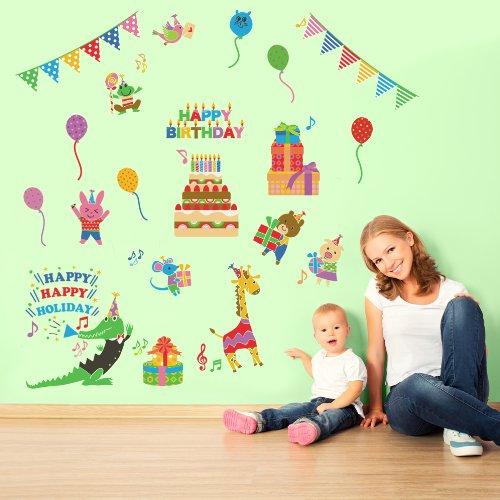 【スクウェア完全オリジナル商品】ウォールステッカー『アニマルパーティ』(60×90cm) バースデー 誕生日