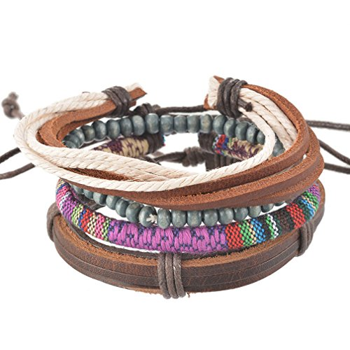 MJartoria Unisex PU Leather Hemp Cords Beaded Multi Color Strands Adjustable Wrap Bracelets Set of (Couples To Be For Halloween)