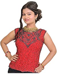 Exotic India Hibiscus-Red Top From Barreily With Hand-Embroidered Beads Al - Red