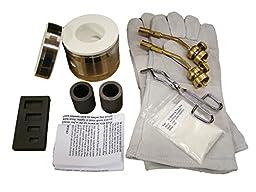 Gold Melting Mini Propane Gas Furnace Kit w/Tongs, 4-Cavity Mold, Gloves & Tips