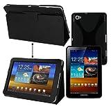 Premium Skque Black Leather Case + Black TPU Gel Case for Samsung Galaxy Tab 7.7 P6800