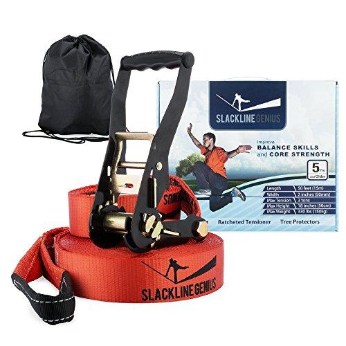 complete-slackline-kit-50-feet-x-2-inches-slack-line-tension-ratchet-tree-protectors-best-core-and-b