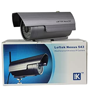 Loftek Nexus 543 outdoor wireless/wired waterproof IP camera 4mm lens and 70° viewing angle,36 Infrared LEDs with night vision up to 25M,easy installation, Silver grey