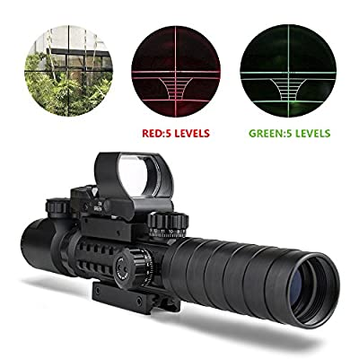 Aipa Rifle Scope 3-9x32EG Dual Illuminated & 4 Reticles Red Green Dot Sight with Electronic Unlimited Brightness Control &Green Laser with 22mm W/Picatinny Rail Mount
