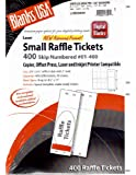 Blanks/usa Small Raffle Event Show 400 Ticket Printable Copier, Offset Press, Laser and Inkjet Printer Compatible