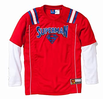 Superman Long Sleeve 2-Fer Sports Jersey w/ Screen Print Logo in Red Size: 14/16