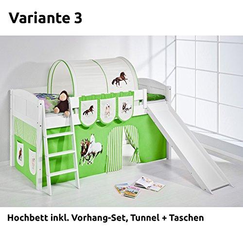 Hochbett Spielbett IDA Pferde Grün Beige, mit Rutsche und Vorhang, weiß, Variante 3