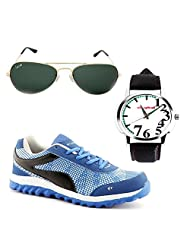 Elligator Stylish Blue Sport Shoes With Watch & Sunglass For Men's