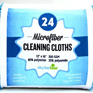 """Microfiber Cloth, 24 Pack Microfiber Cleaning Cloths for Kitchen, Bath, Dusting, Stainless Steel, Glass, Computer & Tech Screens, Windows--Premium 300 gsm, large 12"""" x 16"""" size, Soft, Streak Free, Nonscratch Towels-Stock Up & Save-You'll LOVE them!"""
