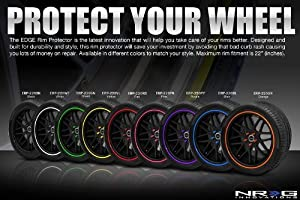 NRG Rim Wheel LIP PROTECTOR up to 22 Wheel Various Colors Yellow Green Black Blue Black Orange Pink Red (set of four)