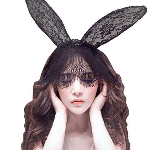 Sexy Rabbit Hairband Ears Lace Mask Veil