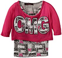 Almost Famous Girls 2-6x Popover, Fuchsia/Heather Grey, Medium