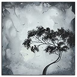 Black & White Tree Art \'Lost Moon\' - 22x22in - Modern Wall Decor Metal Giclee, Contemporary Landscape, Monochrome Abstract Trees Silhouette, Minimalist Artwork by Megan Duncanson