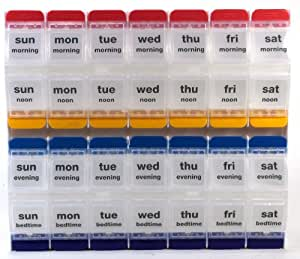 Push Button 7 Days, 4 Times a Day Weekly Pill Organizer,Medtime Planner Extra Large