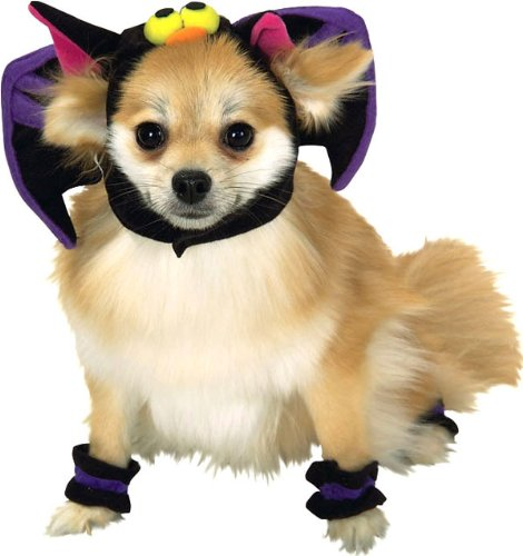 Bat Headpiece and 4 Paw Cuffs Pet Costume Size