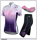 SALE!! 2014 New Santic Women's Outdoor Cycling Jersey + Shorts With 4D Padded Purple color