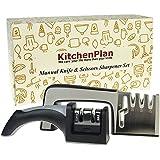 KitchenPlan Knife / Scissors Sharpeners Set - Sharpen Stainless Steel Dull Knives and Scissors in All Sizes || Bonus 2 Stage Detachable Knife Sharpening System (2 Units in 1 Set)