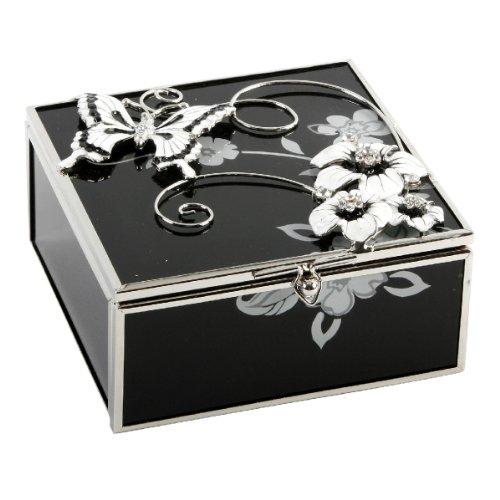 Juliana Glass & Wire- Black/Silver Flowers Trinket Box
