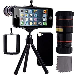 CamKix iPhone 5 Camera Lens Kit - 8x Telephoto Lens / Mini Tripod / Universal Phone Holder / Hard Case for Apple iPhone 5 (Black)