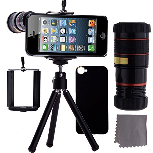 Ibeek Camera Lens Kit Including 12X Telephoto Lens Macro Lens / Mini Tripod / Universal Phone Holder / Hard Case For Iphone 6 & 6 Plus / Velvet Phone Bag / Microfiber Cleaning Cloth - Awesome Accessories And Attachments For Your Apple Iphone 6 Or 6 Plus C