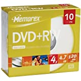 Memorex 05509 DVD+RW Discs, 4.7GB, 4x, w/Jewel Cases, 10/Pack