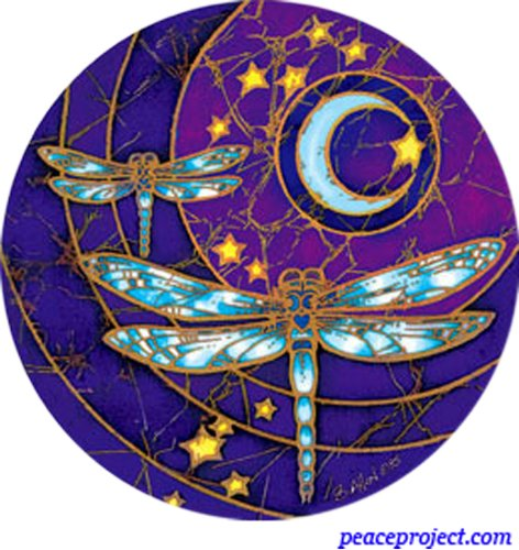 Peace Project: Dragonfly Moon - Window Decal - 1