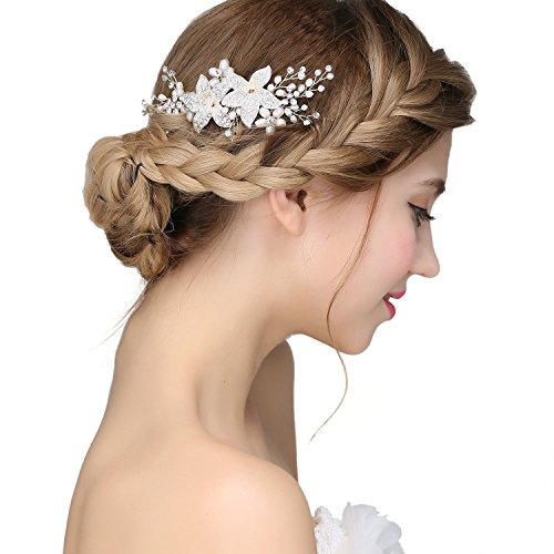 Nymph Code Bridal Pearls Hair Flower Clear Crystal Decor Side Combs Wedding Accessories for Women Styling
