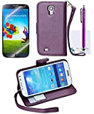 The Friendly Swede Basics - PU Leather Stand Wallet Case Cover for Samsung Galaxy SIV S4 i9500 + Matching Stylus + Screen Protector + Cleaning Cloth (Purple)