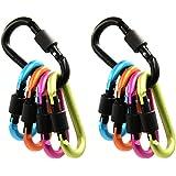 ArcEnCiel Aluminum D-ring Locking Carabiner Keychain Spring Clip Lock Carabiner Hook Outdoor Camping Equipment...