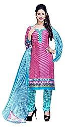 Fabgruh Presents Crepe Dress Material(Pink,White)