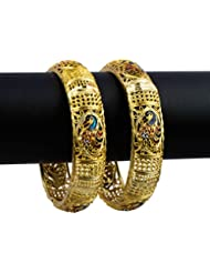 R18Jewels-Fashion&U Vibrant Ornamental_Peacock Brass, Enamel Yellow Gold Plated Bangle Set For Women InStyle !!