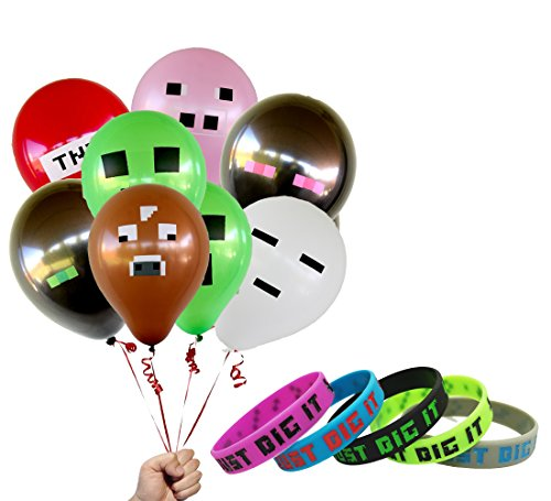 "Pixelated Party Favors Bundle: 12"" Inch Latex Balloons & Bracelets Supplies"