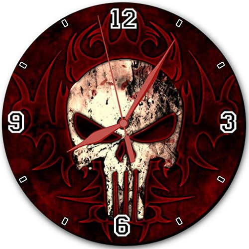 """Bloody Skulls Red Black Background Punktail'S Collections 10"""" Quartz Plastic Wall Round Clock Customized Made To Order"""