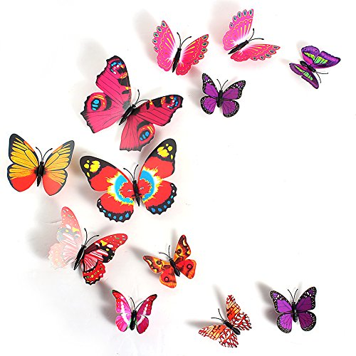 2013Newestseller 12Pcs Colorful 3D Butterfly Sticker Art Design Decal Wall Stickers Home Room Decor front-563004