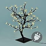 64er LED Lichterzweig Baum mit Blüten warm weiß Lichterkette Energiespar